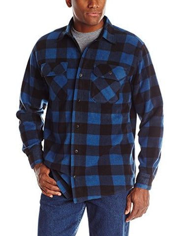 Wrangler Authentics Men's Long Sleeve Plaid Fleece Shirt, Blue Buffalo Plaid, Large