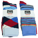 Alpine Swiss Men's Cotton 6 Pack Dress Socks Striped & Argyle Bright Color Pack
