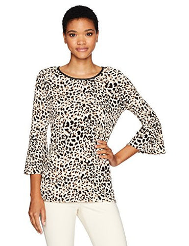 Calvin Klein Women's Bell Sleeve Top with Trim, Leopard, L