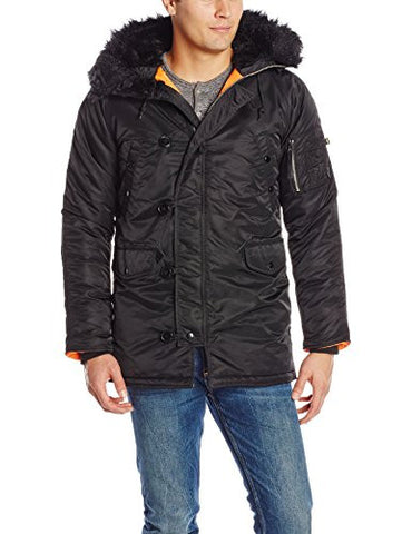 Alpha Industries Men's N-3B Slim-Fit Parka Coat with Removable Faux-Fur Hood Trim