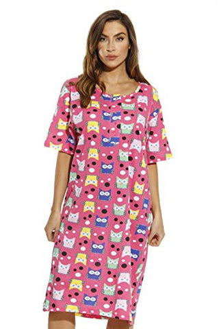 4360-O-10063-L Just Love Short Sleeve Nightgown / Sleep Dress for Women / Sleepwear,Owl & Dots,Large