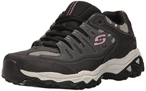 Skechers Sport Men's Afterburn Memory Foam Lace-Up Sneaker,Charcoal/Black,8 M US