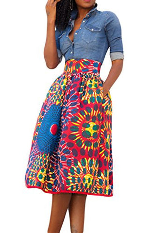 Annflat Women's African Print Knee Length Flare Skirts With Pockets Medium Red
