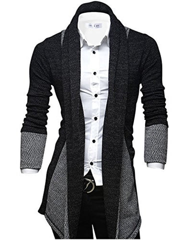 Tom's Ware Mens Classic Fashion Marled Open-Front Shawl Collar Cardigan TWGG1308-BLACK-US M