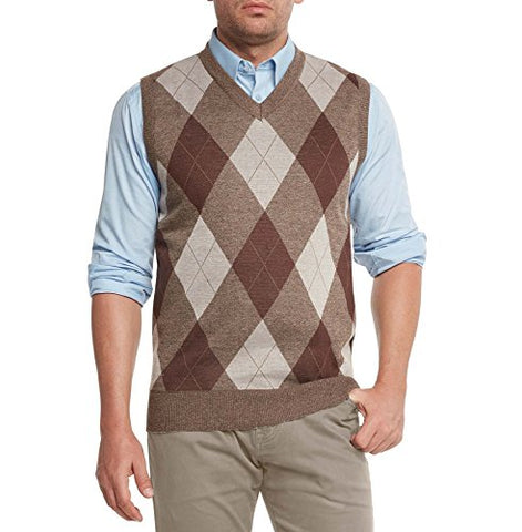True Rock Men's Argyle V-Neck Sweater Vest-Brown/Beige-XL