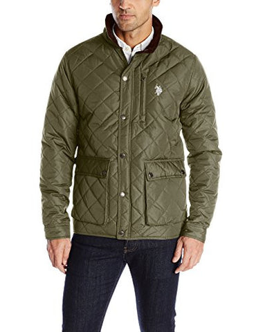 U.S. Polo Assn. Men's Diamond Quilted Jacket, Forest Night, Large