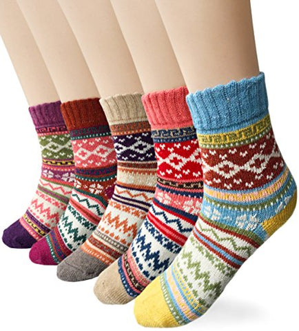 Loritta Women's 5 Pairs Vintage Style Winter Knitting Warm Wool Crew Socks