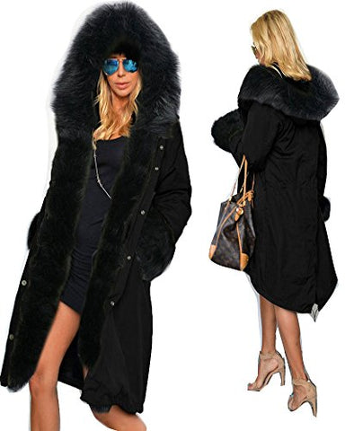 Roiii Women's Winter Faux Fur Hooded Plus Size Parka Jacket Coat (US Size L, Black)