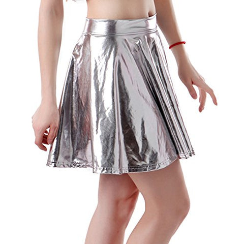 HDE Women's Shiny Liquid Metallic Wet Look Flared Pleated Skater Skirt (Silver, Small)