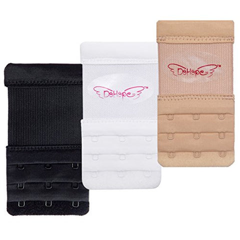 3pcs Elastic Back Bra Band Extender 3 X 3 Hook and Eye Tape Stretchy Extension, Black White Beige