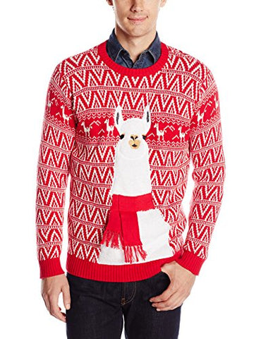 Blizzard Bay Men's Festive Llama Ugly Christmas Sweater, Red/White, XX-Large