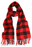 Love Lakeside-Men's Cashmere Feel Winter Plaid Scarf Red Buffalo
