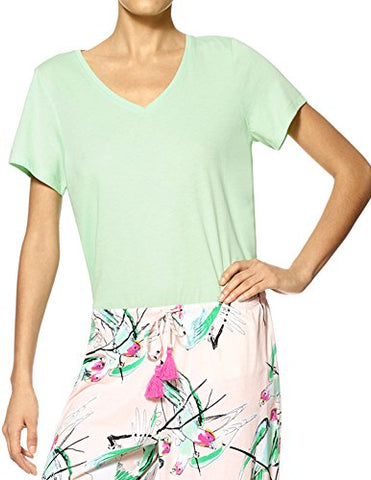 HUE Solid V-Neck Top Limesicle Green Medium