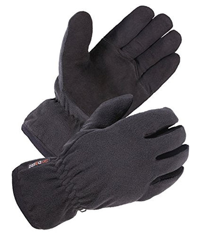 SKYDEERE Cycling Winter Gloves - Warm Soft Deerskin Suede Leather and Windproof Polar Fleece Glove, with 3M Thinsulate Insulation Suitable for Outdoor Sport and Keep Warm in Cold Weather , Black , Large