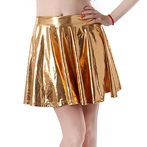 HDE Women's Shiny Liquid Metallic Wet Look Flared Pleated Skater Skirt (Gold, Small)