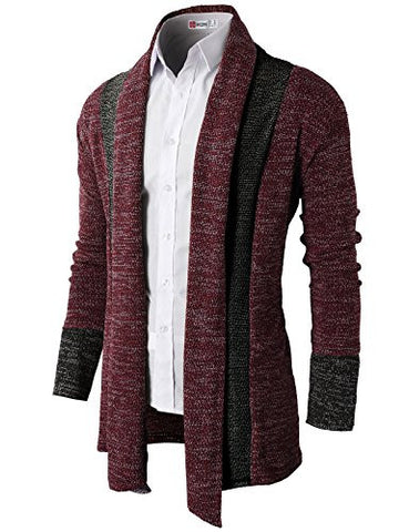 H2H Mens Casual Knit Cardigan with Double Shawl Collar,NAVY,US M (Asia L)