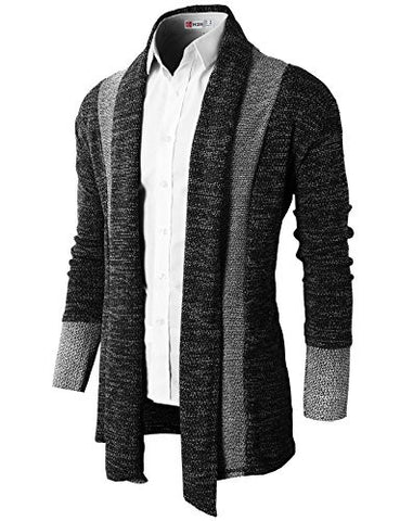 H2H Mens Casual Slim Fit Knit Cardigan with Double Shawl Collar BLACK US XL/Asia XXL (KMOCAL011_KMOCAL012)