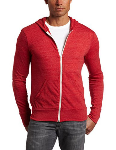 Alternative Men's Eco Zip Hoodie Sweatshirt Shirt, Red, Medium
