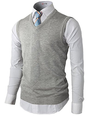H2H Men's Pima Cotton Thermal Sweater Vest With Ribbed V-neckline GRAY US L/Asia XL (KMOV050)
