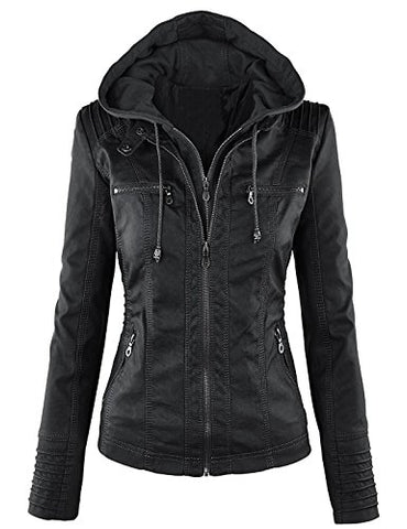 Tanming Women's Womens Hooded Faux leather Jackets (Small, Black)