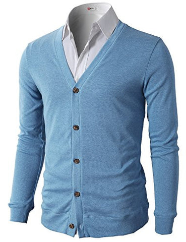 H2H Mens Slim Fit Stylish Button up Cardigan BLUE US XL/Asia 2XL (CMOCAL012)