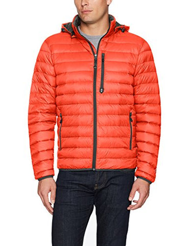 Free Country Men's Hooded Packable Down Jacket, Orange Shock, Medium