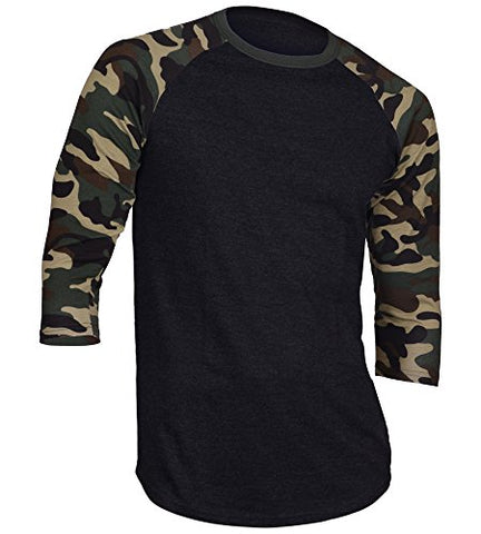 Dream USA Men's Casual 3/4 Sleeve Baseball Tshirt Raglan Jersey Shirt Black/Dk Camo XL