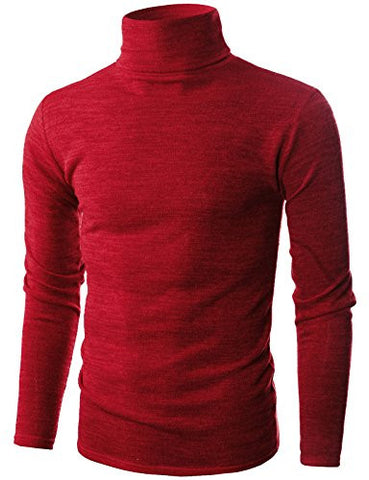 Ohoo Mens Slim Fit Soft Cotton Blend Turtleneck Pullover Sweater/DCP006-RED-L