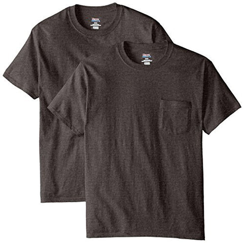 Hanes Men's 2 Pack Short Sleeve Pocket Beefy-t, Charcoal Heather, XL