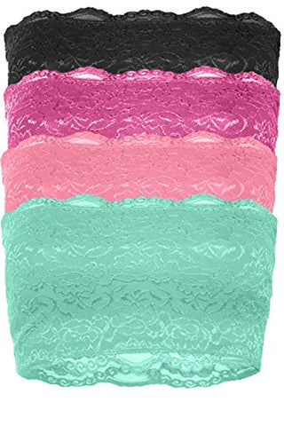 TL Women's Full Floral Lace Strapless Seamless Stretchy Bandeau Tube Bra Top MINT_COR_FUC_BLK L