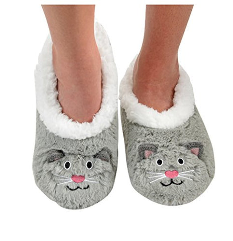 Snoozies Womens Animal Heads Sherpa Plush Fleece Lined Slipper Socks - Grey Cat, Medium