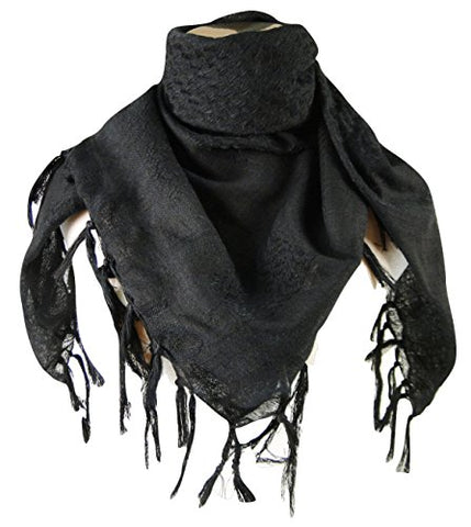 Premium Shemagh Head Neck Scarf - Black/Black