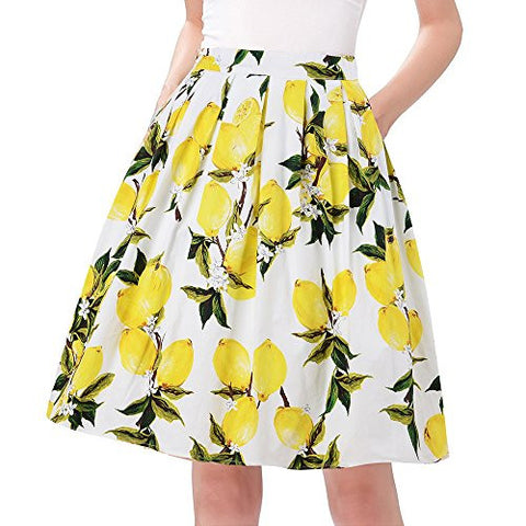 Taydey Casual Vintage Midi Skirt for Women A-Line Size M