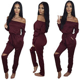 Longwu Women's Fashion off-Shoulder Drawstring Jumpsuits Rompers Knee Hole Pants Wine Red-S
