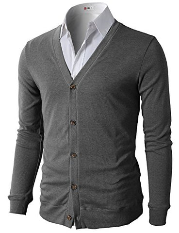 H2H Mens Thin Button V-Neck Cotton Cardigan GRAY US XL/Asia 2XL (CMOCAL012)