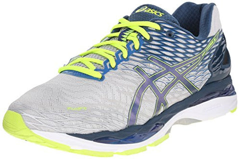 ASICS Men's Gel Nimbus 18 Running Shoe, Silver/Ink/Flash Yellow, 10 M US