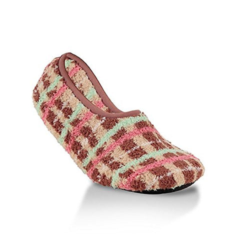World's Softest Socks Cozy Collection Novelty Slipper Gingerbread Plaid Medium (Medium, Multi)