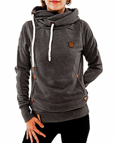 ZANZEA Ladies Autumn Hoodie Sweatshirts Long Sleeve Pockets Slim Tops Blouse DarkGray 4