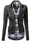 Qulited Sleeve Classic Rider Style Faux Leather Jackets Black Size L