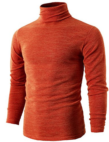 H2H Mens Basic Knitted Long-Sleeve Ribbed Sweater With Turtleneck ORANGE US M/Asia XL (KMTTL028)