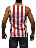 Patriotic American Flag Stripes And Half Stars Tank Top Shirt M