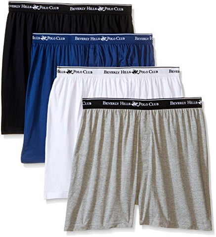 Beverly Hills Polo Club Men's 4 Pack Knit Boxer, White/Black/Navy/Grey Heather Pijama Large