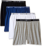 Beverly Hills Polo Club Men's 4 Pack Knit Boxer, White/Black/Navy/Grey Heather, XX-Large