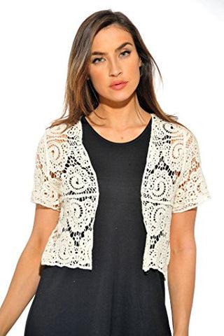401148-Nat-L Just Love Bolero Shrug / Women Cardigan,Natural Paisley Crochet,Large