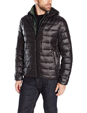 Tommy Hilfiger Men's Ultra Loft Insulated Packable Jacket with Contrast Bib and Hood, Black/Olive Bib, M