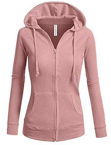 TL Women's Comfy Versatile Warm Knitted Casual Zip-Up Hoodie Jackets in Colors 02_DUSTY_PINK M