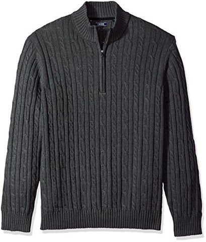 IZOD Men's Cable Solid 1/4 Zip Sweater, Asphalt Heather, X-Large