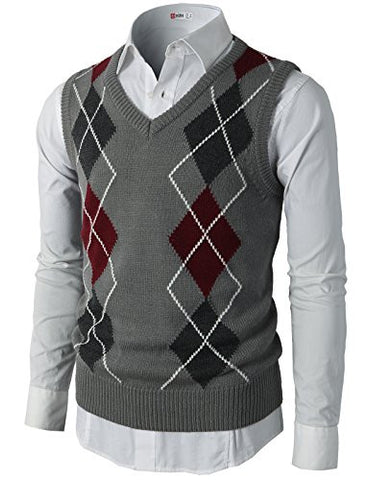 H2H Mens Casual Silm Fit Argyle V-Neck Golf Sweater Vest Of Various Colors GRAY US XL/Asia XXL (CMOV033)