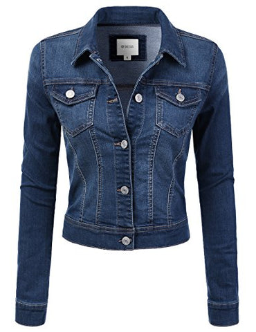 DRESSIS Womens Slim Fit Cropped Demin Jean Jacket MEDIUMBLUE M