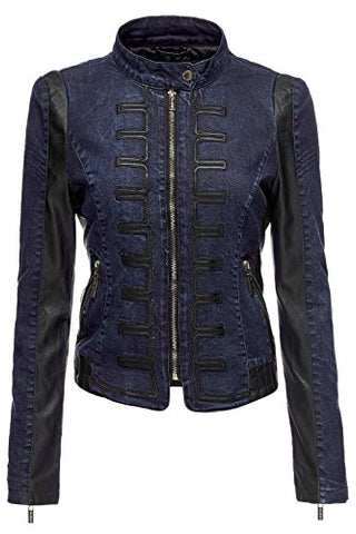 Power Shoulder Quilted Pu Leather Moto Denim Jackets.